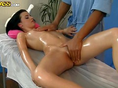 Amazingly Hot Brunette Gets An Oily Screw While Getting A Massage