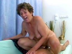 Granny toyed and fucked by his stiff dick