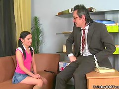 Long-Haired Brunette Teen Banged Hard by Her Teacher