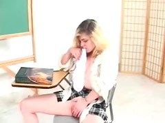Schoolgirl in cotton panties masturbates