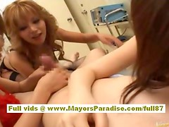 Japanese gorgeous girls does great blowjob