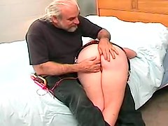 Bearded old dude spanks cute redhead