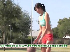 Chloe awesome brunette woman public flashing tits and having great time