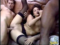 Slim horny beauty and her two lovers get it on