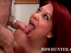 Fat redhead gives BJ to an old guy