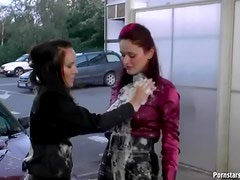 Satin Freaks Getting All Messy In Weirdest Carwash Ever
