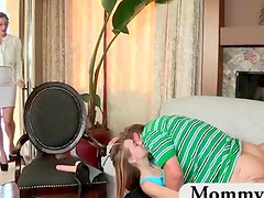 Stepmom punishes a teen couple with a strapon after catching them fucking