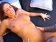 Slutty chick moans while she gets screwed by big schong