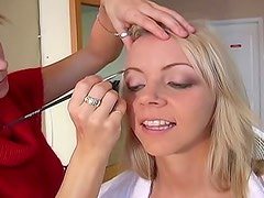 Cute blonde gets her makeup done