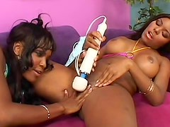 Incredible black girls with great tits play