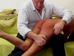 Hungry daddy without mood is punishing his young secretary