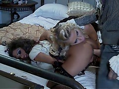 Two dolls get fucked in clothes