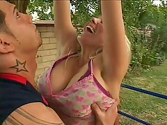 Johnny hits his hot blonde Stepmom's ass