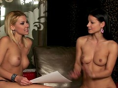 Blonde Cindy Hope Doing a Naked Interview To Brunette Melisa Mendiny