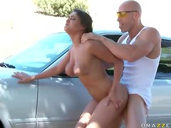 Gorgeously Busty Brunette Gets A Hardcore Fuck Outdoors