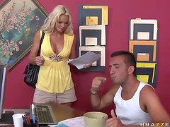 Busty Blonde Titty Fucking The Landowner Big Dick To Move Out