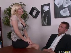 Blonde MILF Holly Sampson Titty Fucking A Big Dick In The Office