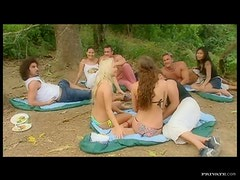 Slutty Babes Have A Campsite Group Sex With Other Couples