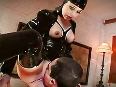 Latex wearing slut fucks hardcore cock