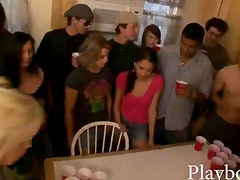 Naughty college girls Beer Pong game goes a little hardcore