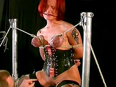 Redhead and busty cutie wants her bf to punish her mammaries