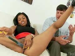 Hot ebony babe teasing her boss with her pretty pussy