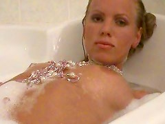 Erotic nude bath with blonde