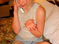 Horny teen kitty on the phone