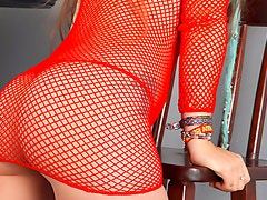 Skinny teen puss in red fishnet