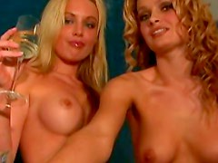 Three topless ladies hang out
