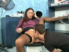 Sexy Brunette Gets Banged In A Beauty Salon By A Big Cock