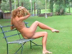 Mowing the lawn in the nude