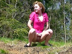 Sexy pink dress on public piss girl