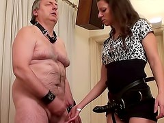 Old guy spanked and strapon fucked by girl