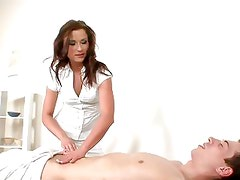 Milf - Dude gets his first MILF massage and fuck