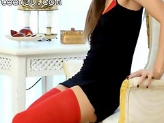 Brunette in red riding sexy vibrator
