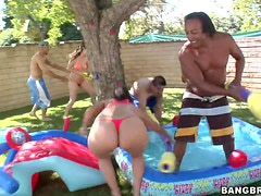 Summer Time Fun Turns into Wild Orgy with Horny Wet Babes