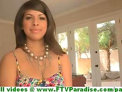 Leila stunning busty brunette babe flashing and playing with boobs