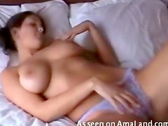 Gorgeous breasts on fingering girl
