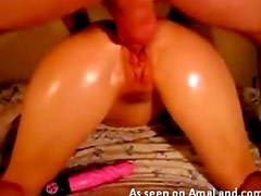 Oiled up girlfriend fuck and fingering
