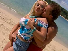 DD Cupped Blonde Gets Her Hairy Pussy Fucked Cowgirl Style Outdoors