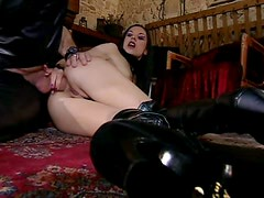 Leather Clad Brunette Vanessa May Getting Her Twat and Anus Banged
