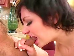 Skinny girl is rough with his cock