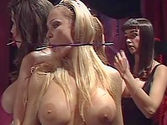 Fake tits women tied up in the dungeon
