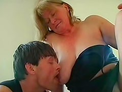Old and fat Ladislava is sucking big dick in the office