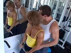 Muscular milf works out and gets laid