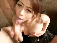 Maki looks amazing in her evening dress with a big cock