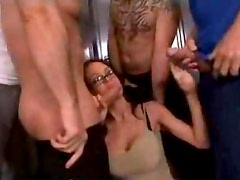 Busty brunette loves group sex
