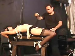 Sheer lingerie lady tied up lustily