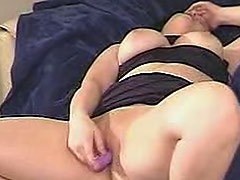 Lovely dark lipstick on masturbating girl